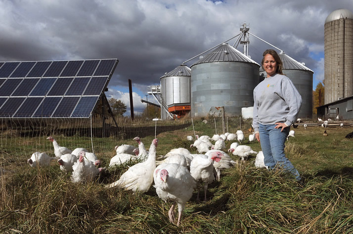 Jackie Good, Owner of RC Organic Farms in the Fall. A Solar Powered Farm.